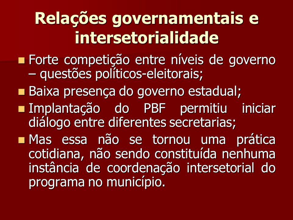Relações governamentais e intersetorialidade Forte competição entre níveis de governo – questões políticos-eleitorais; Forte competição entre níveis d