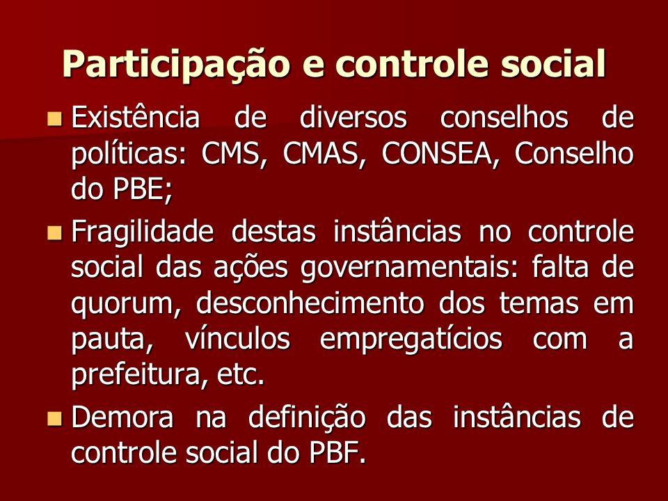 Participação e controle social Existência de diversos conselhos de políticas: CMS, CMAS, CONSEA, Conselho do PBE; Existência de diversos conselhos de
