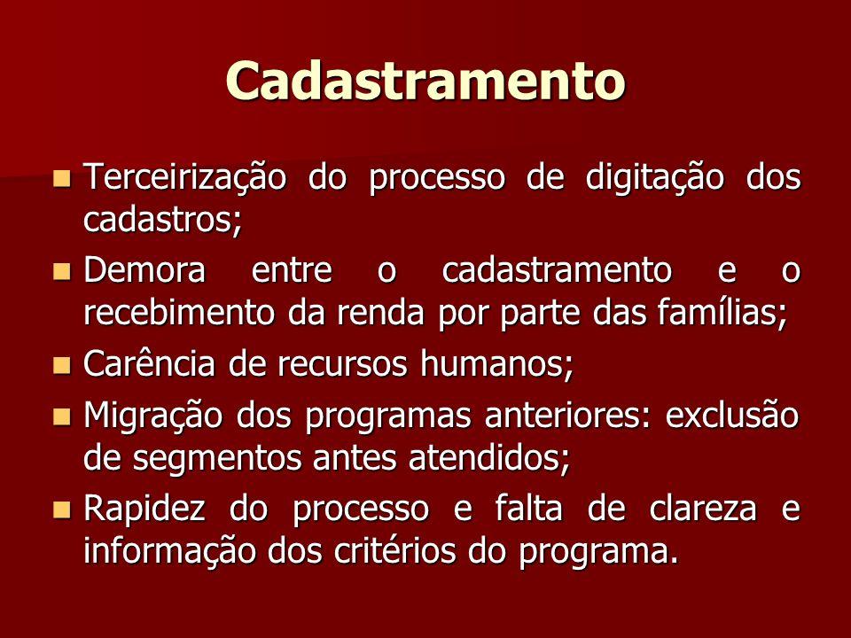 Cadastramento Terceirização do processo de digitação dos cadastros; Terceirização do processo de digitação dos cadastros; Demora entre o cadastramento