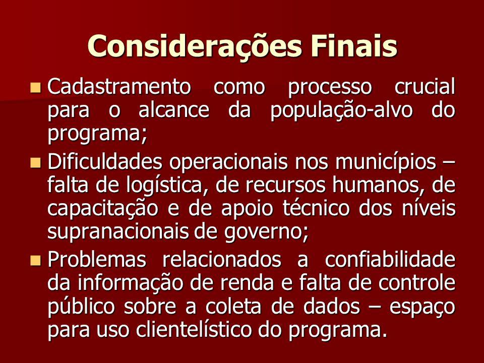 Considerações Finais Cadastramento como processo crucial para o alcance da população-alvo do programa; Cadastramento como processo crucial para o alca