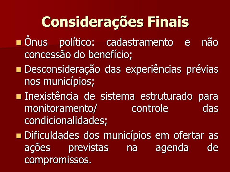 Considerações Finais Ônus político: cadastramento e não concessão do benefício; Ônus político: cadastramento e não concessão do benefício; Desconsider