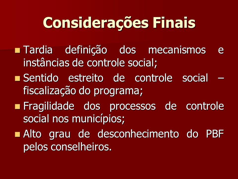 Considerações Finais Tardia definição dos mecanismos e instâncias de controle social; Tardia definição dos mecanismos e instâncias de controle social;