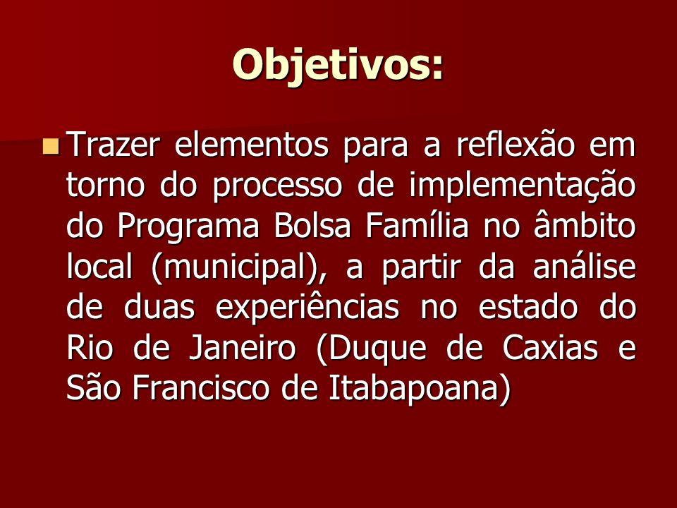 Objetivos: Trazer elementos para a reflexão em torno do processo de implementação do Programa Bolsa Família no âmbito local (municipal), a partir da a