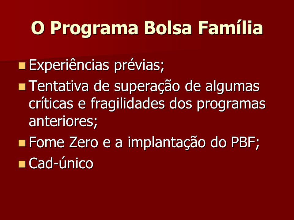 O Programa Bolsa Família Experiências prévias; Experiências prévias; Tentativa de superação de algumas críticas e fragilidades dos programas anteriore