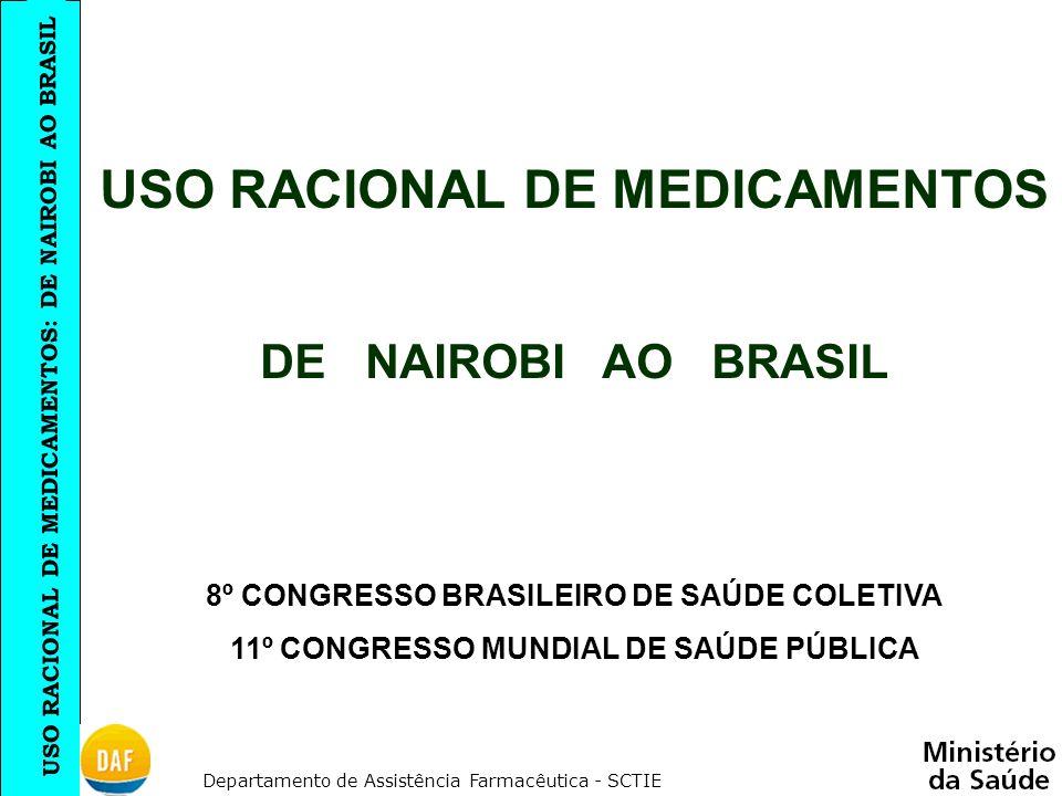 USO RACIONAL DE MEDICAMENTOS: DE NAIROBI AO BRASIL Departamento de Assistência Farmacêutica - SCTIE USO RACIONAL DE MEDICAMENTOS DE NAIROBI AO BRASIL