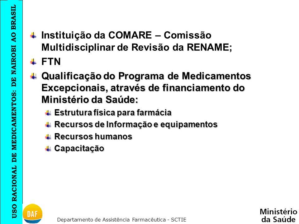 USO RACIONAL DE MEDICAMENTOS: DE NAIROBI AO BRASIL Departamento de Assistência Farmacêutica - SCTIE Instituição da COMARE – Comissão Multidisciplinar
