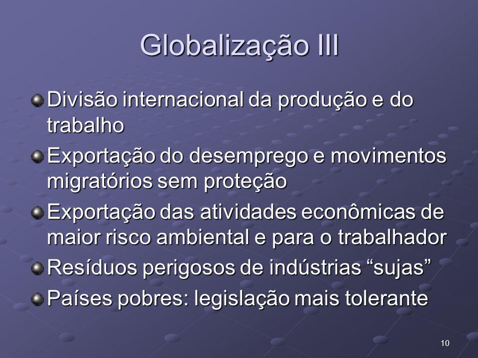 10 Globalização III Divisão internacional da produção e do trabalho Exportação do desemprego e movimentos migratórios sem proteção Exportação das ativ
