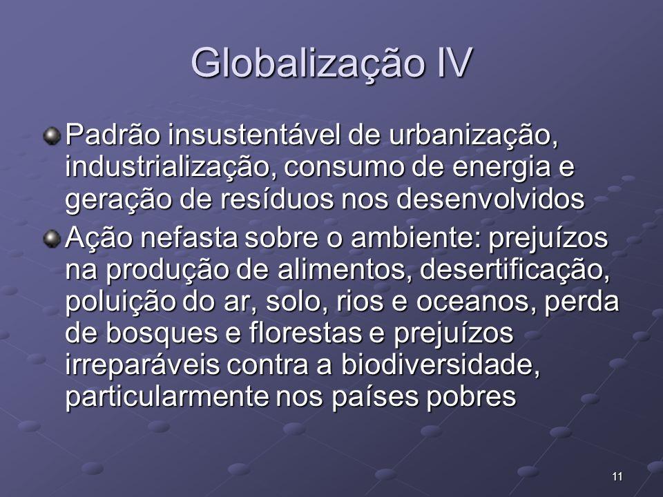 11 Globalização IV Padrão insustentável de urbanização, industrialização, consumo de energia e geração de resíduos nos desenvolvidos Ação nefasta sobr