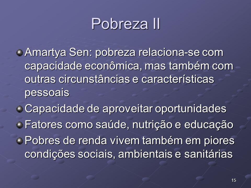 15 Pobreza II Amartya Sen: pobreza relaciona-se com capacidade econômica, mas também com outras circunstâncias e características pessoais Capacidade d
