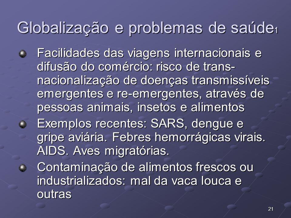 21 Globalização e problemas de saúde 1 Facilidades das viagens internacionais e difusão do comércio: risco de trans- nacionalização de doenças transmi