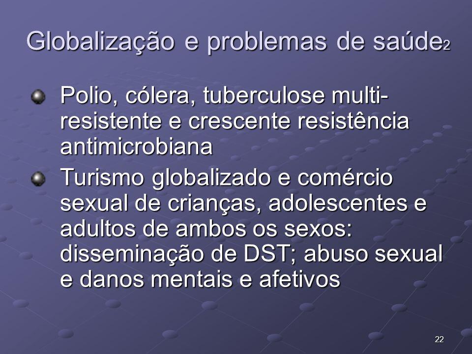 22 Globalização e problemas de saúde 2 Polio, cólera, tuberculose multi- resistente e crescente resistência antimicrobiana Turismo globalizado e comér