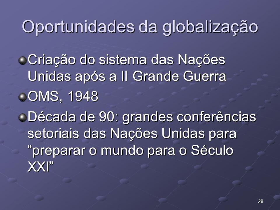 28 Oportunidades da globalização Criação do sistema das Nações Unidas após a II Grande Guerra OMS, 1948 Década de 90: grandes conferências setoriais d