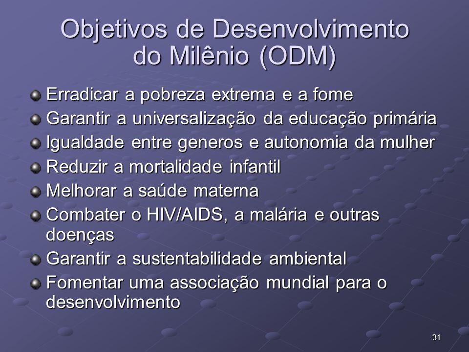 31 Objetivos de Desenvolvimento do Milênio (ODM) Erradicar a pobreza extrema e a fome Garantir a universalização da educação primária Igualdade entre