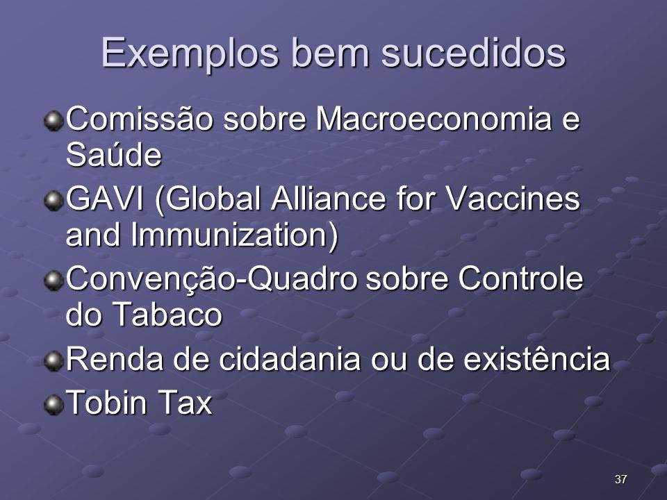 37 Exemplos bem sucedidos Comissão sobre Macroeconomia e Saúde GAVI (Global Alliance for Vaccines and Immunization) Convenção-Quadro sobre Controle do