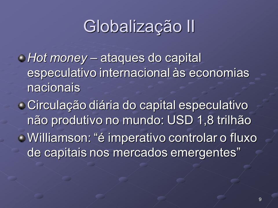 9 Globalização II Hot money – ataques do capital especulativo internacional às economias nacionais Circulação diária do capital especulativo não produ
