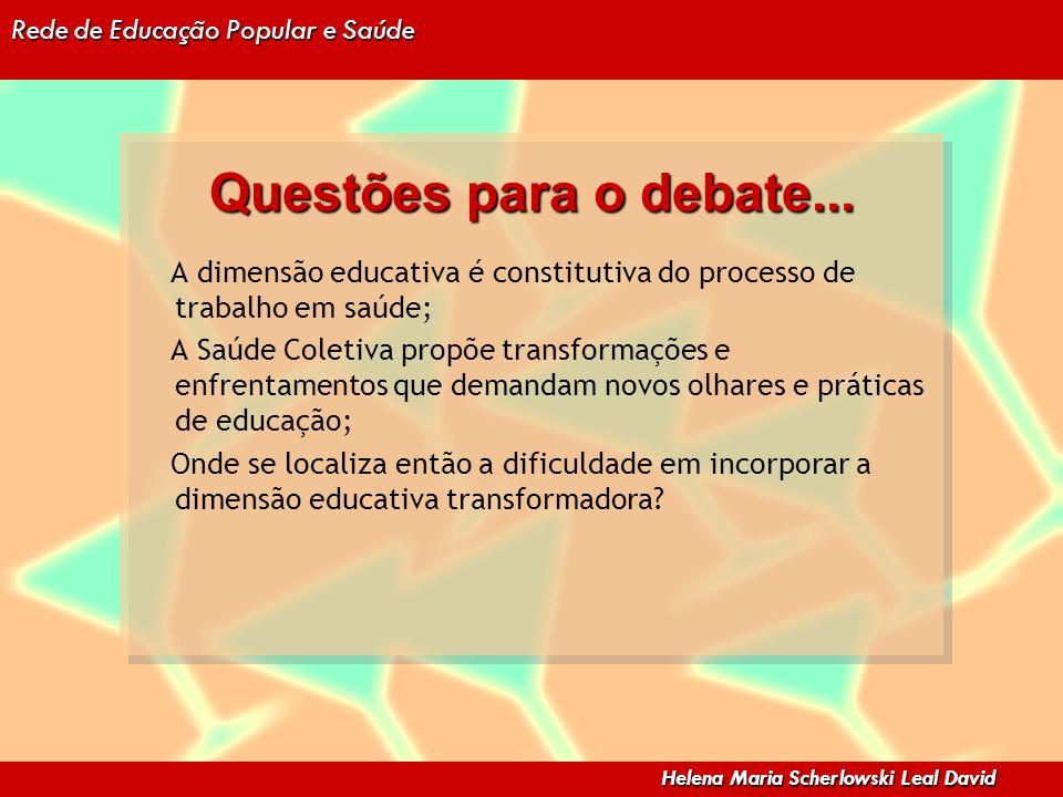 Rede de Educação Popular e Saúde Helena Maria Scherlowski Leal David Questões para o debate... A dimensão educativa é constitutiva do processo de trab