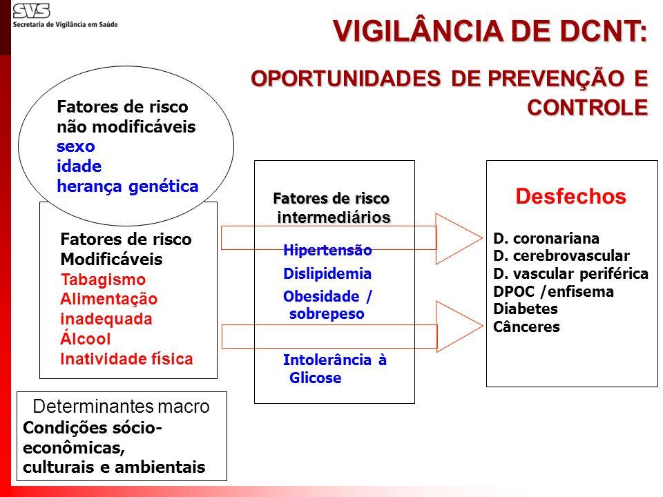 D. coronariana D. cerebrovascular D. vascular periférica DPOC /enfisema Diabetes Cânceres VIGILÂNCIA DE DCNT: OPORTUNIDADES DE PREVENÇÃO E CONTROLE Fa