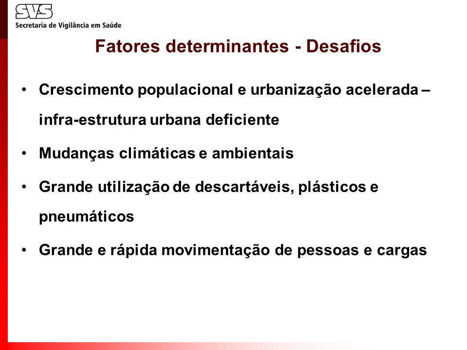Fatores determinantes - Desafios Crescimento populacional e urbanização acelerada – infra-estrutura urbana deficiente Mudanças climáticas e ambientais