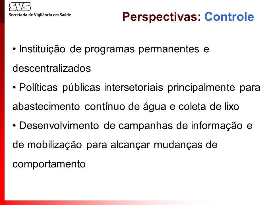 Instituição de programas permanentes e descentralizados Políticas públicas intersetoriais principalmente para abastecimento contínuo de água e coleta