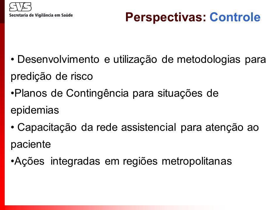 Desenvolvimento e utilização de metodologias para predição de risco Planos de Contingência para situações de epidemias Capacitação da rede assistencia