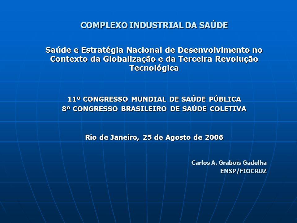 COMPLEXO INDUSTRIAL DA SAÚDE Saúde e Estratégia Nacional de Desenvolvimento no Contexto da Globalização e da Terceira Revolução Tecnológica 11º CONGRE