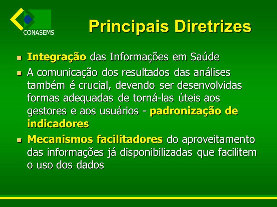 CONASEMS Principais Diretrizes Integração das Informações em Saúde Integração das Informações em Saúde A comunicação dos resultados das análises també