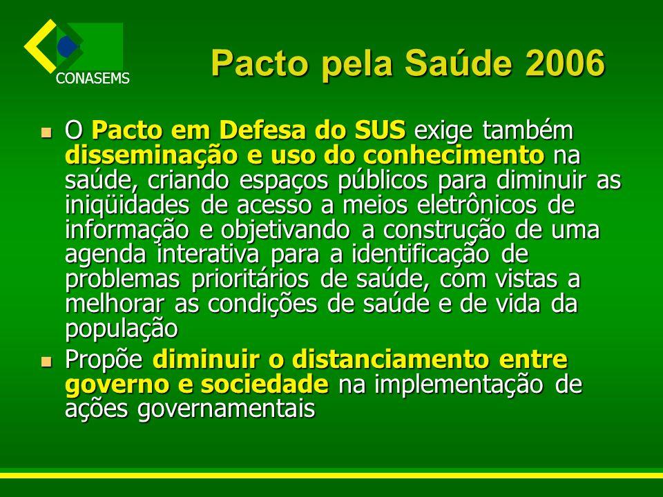 CONASEMS Pacto pela Saúde 2006 O Pacto em Defesa do SUS exige também disseminação e uso do conhecimento na saúde, criando espaços públicos para diminu