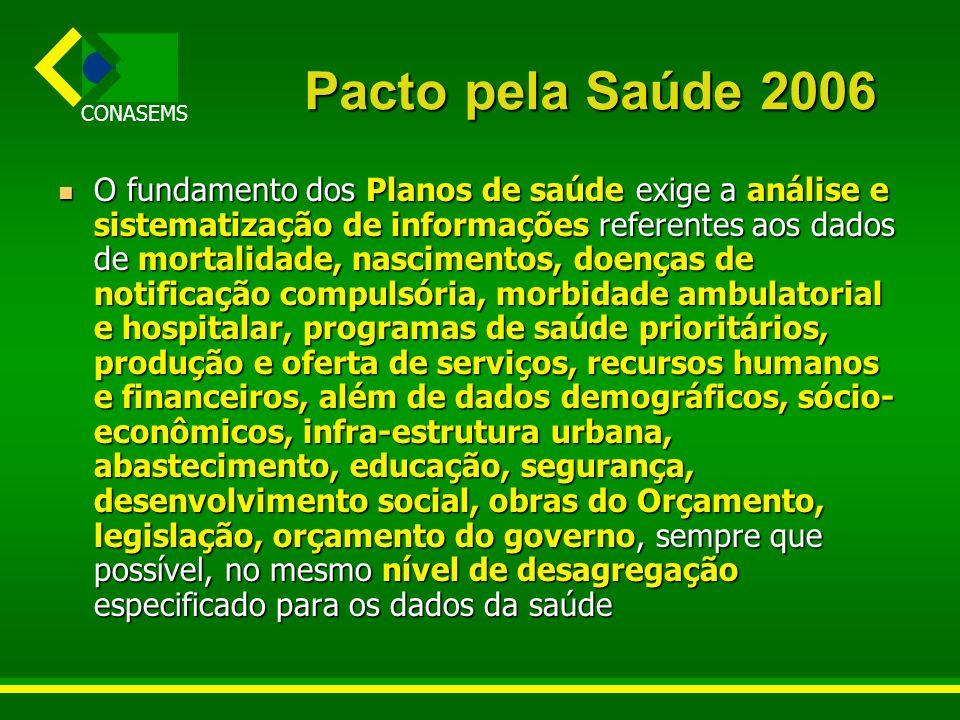 CONASEMS Pacto pela Saúde 2006 O fundamento dos Planos de saúde exige a análise e sistematização de informações referentes aos dados de mortalidade, n