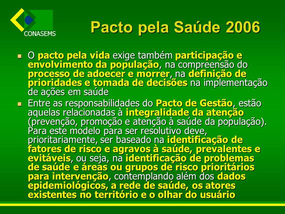 CONASEMS Pacto pela Saúde 2006 O pacto pela vida exige também participação e envolvimento da população, na compreensão do processo de adoecer e morrer