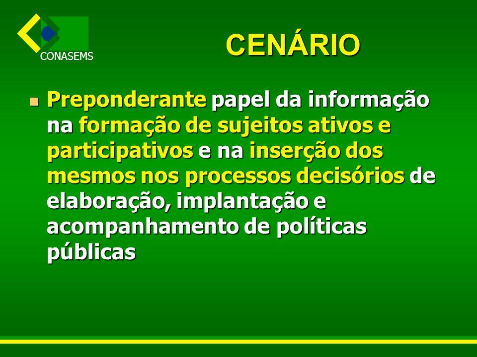 CONASEMS O PROCESSO Dezembro de 2002 : Comitê CIT de Informação e Informática Dezembro de 2002 : Comitê CIT de Informação e Informática MAIO DE 2003 : seminário sobre informação para o controle social, com apoio da Ripsa MAIO DE 2003 : seminário sobre informação para o controle social, com apoio da Ripsa Outubro de 2003 : X OTI RIPSA, inclui tema para o PPA 2004 e 2005 Outubro de 2003 : X OTI RIPSA, inclui tema para o PPA 2004 e 2005 Outubro de 2003 : II Seminário Nacional de Informação em Saúde – início da construção da PNIIS Outubro de 2003 : II Seminário Nacional de Informação em Saúde – início da construção da PNIIS Dezembro de 2003: XII Conferência Nacional de Saúde e o eixo temático Dezembro de 2003: XII Conferência Nacional de Saúde e o eixo temático