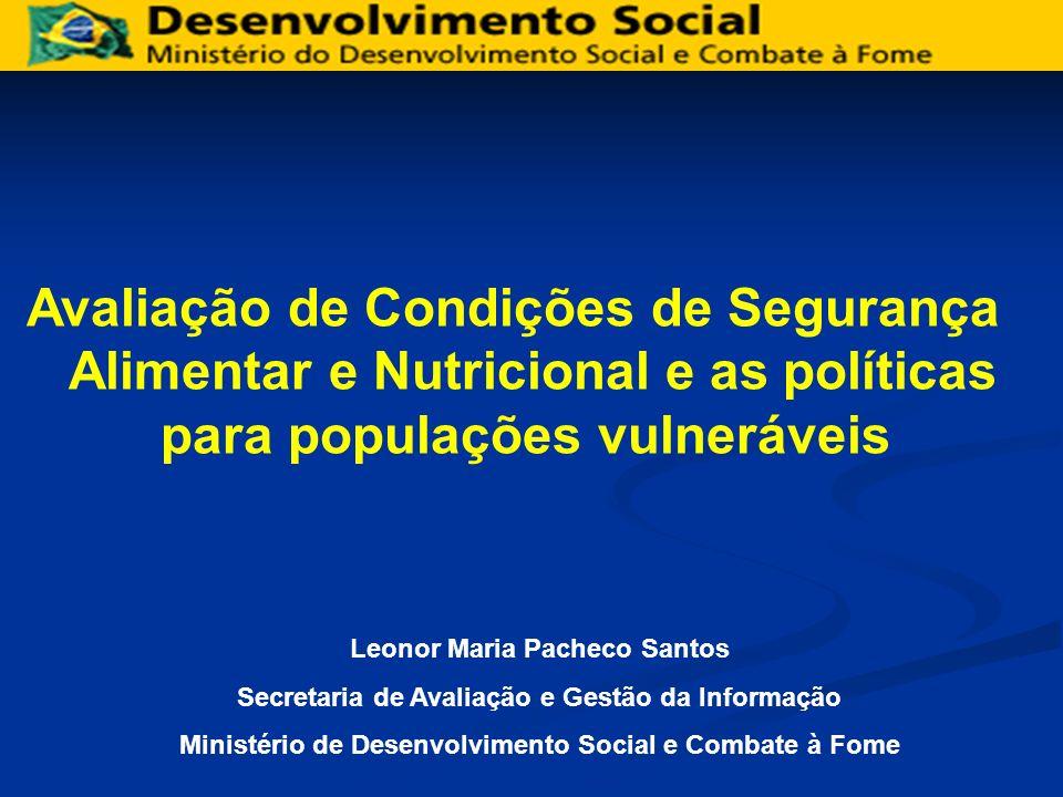 Avaliação de Condições de Segurança Alimentar e Nutricional e as políticas para populações vulneráveis Leonor Maria Pacheco Santos Secretaria de Avali
