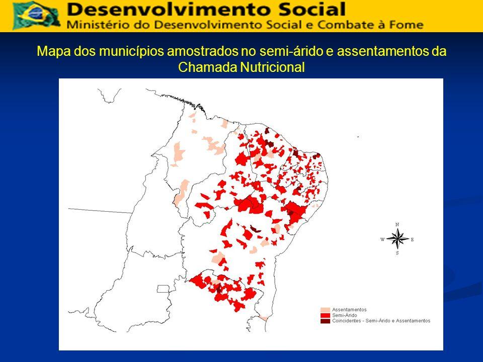 Mapa dos municípios amostrados no semi-árido e assentamentos da Chamada Nutricional