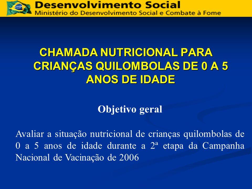 CHAMADA NUTRICIONAL PARA CRIANÇAS QUILOMBOLAS DE 0 A 5 ANOS DE IDADE Objetivo geral Avaliar a situação nutricional de crianças quilombolas de 0 a 5 an