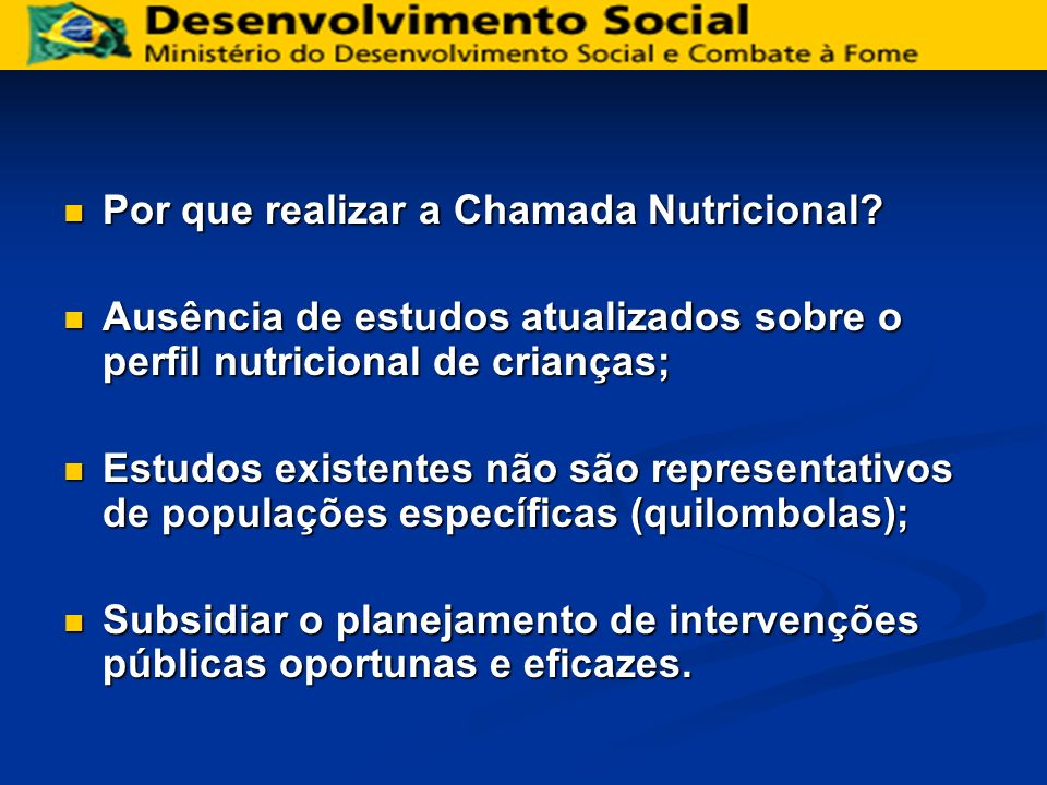Chamada Nutricional Quilombola – 2006