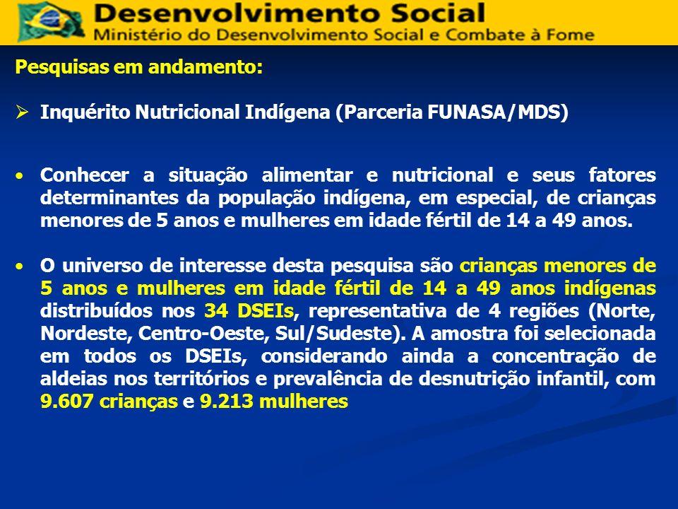 Pesquisas em andamento: Inquérito Nutricional Indígena (Parceria FUNASA/MDS) Conhecer a situação alimentar e nutricional e seus fatores determinantes