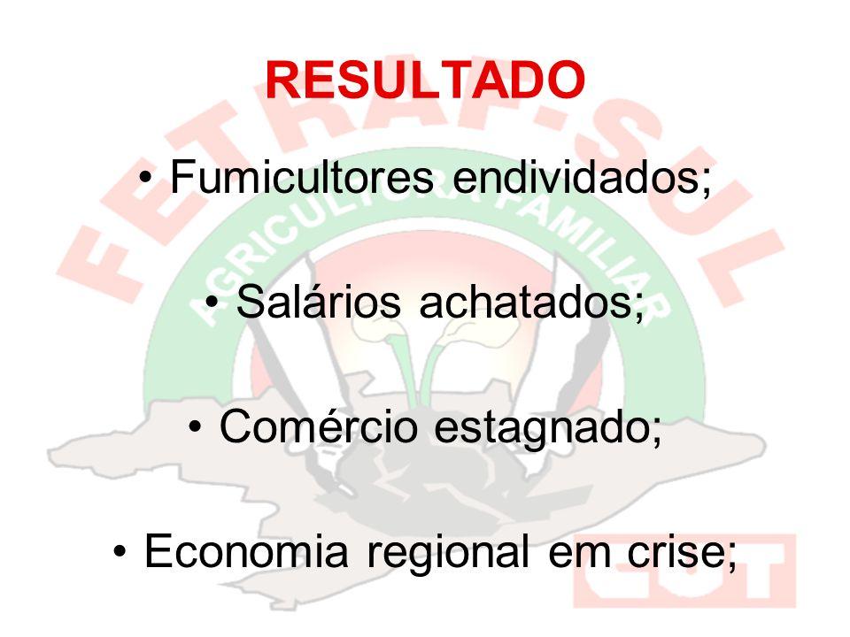 RESULTADO Fumicultores endividados; Salários achatados; Comércio estagnado; Economia regional em crise;