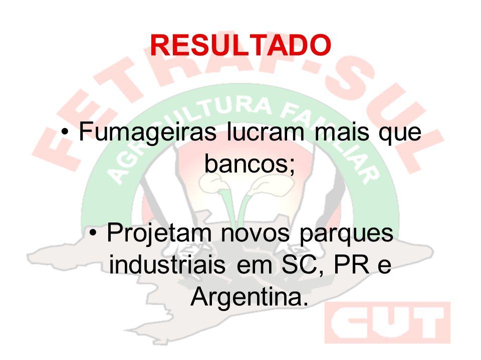 RESULTADO Fumageiras lucram mais que bancos; Projetam novos parques industriais em SC, PR e Argentina.