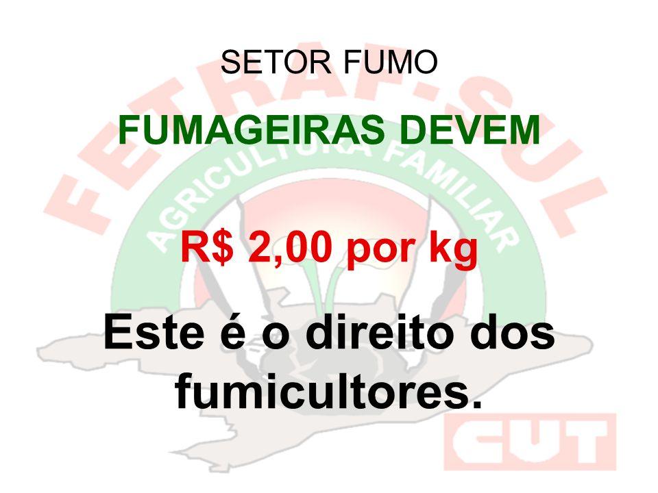 SETOR FUMO FUMAGEIRAS DEVEM R$ 2,00 por kg Este é o direito dos fumicultores.