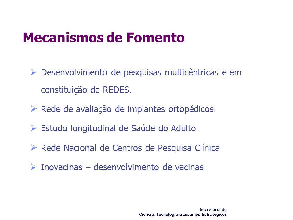 Mecanismos de Fomento Desenvolvimento de pesquisas multicêntricas e em constituição de REDES. Rede de avaliação de implantes ortopédicos. Estudo longi