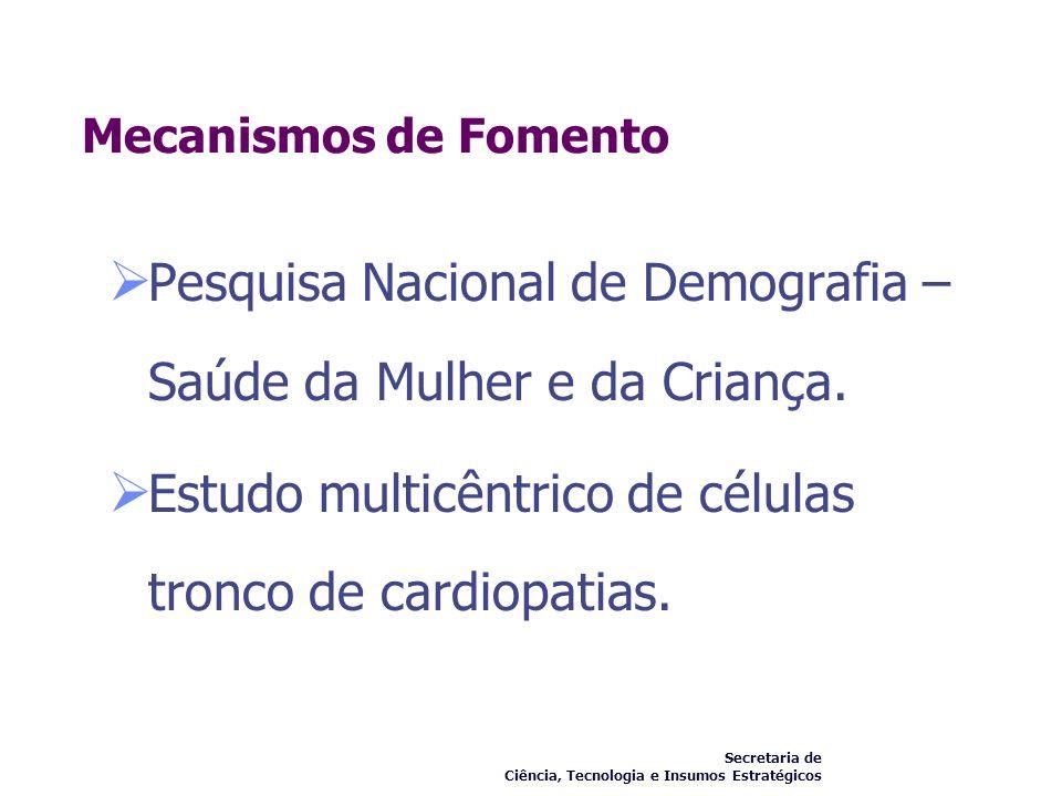 Mecanismos de Fomento Pesquisa Nacional de Demografia – Saúde da Mulher e da Criança. Estudo multicêntrico de células tronco de cardiopatias. Secretar