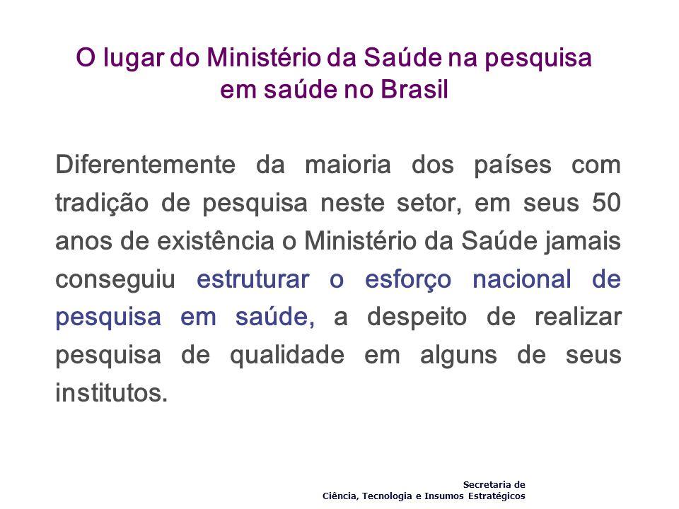 O lugar do Ministério da Saúde na pesquisa em saúde no Brasil Diferentemente da maioria dos países com tradição de pesquisa neste setor, em seus 50 an