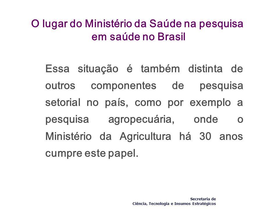 O lugar do Ministério da Saúde na pesquisa em saúde no Brasil Essa situação é também distinta de outros componentes de pesquisa setorial no país, como
