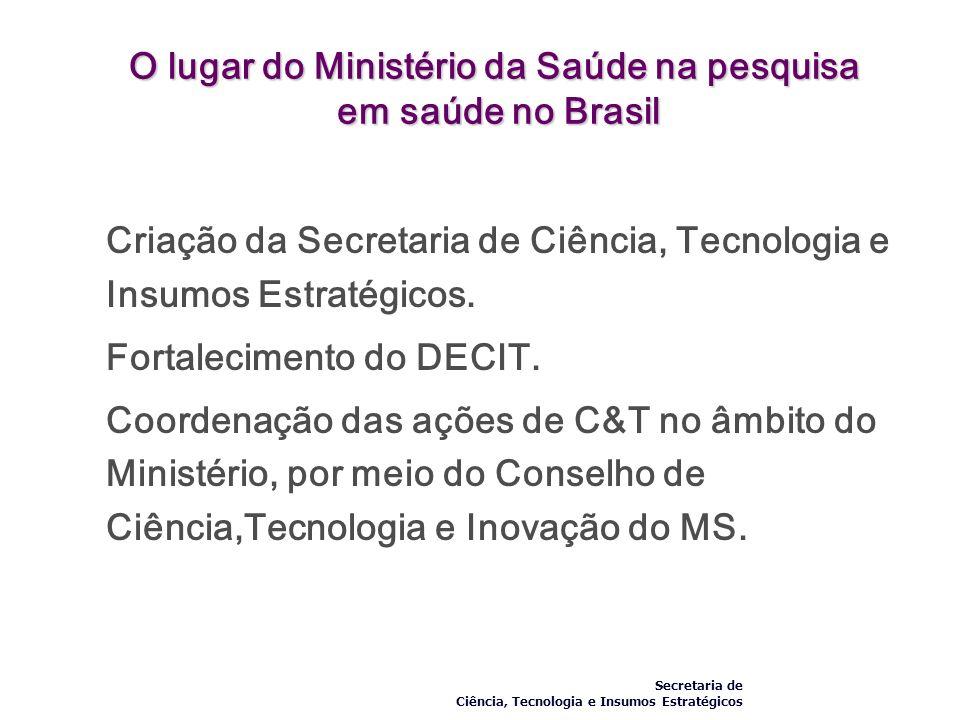 O lugar do Ministério da Saúde na pesquisa em saúde no Brasil Criação da Secretaria de Ciência, Tecnologia e Insumos Estratégicos. Fortalecimento do D