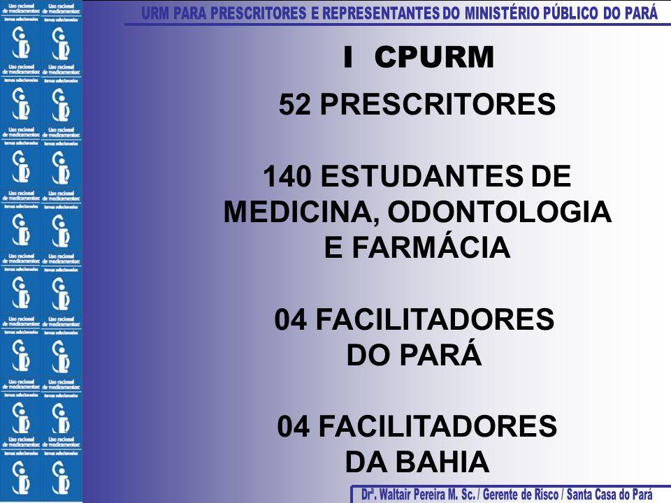 52 PRESCRITORES 140 ESTUDANTES DE MEDICINA, ODONTOLOGIA E FARMÁCIA 04 FACILITADORES DO PARÁ 04 FACILITADORES DA BAHIA I CPURM