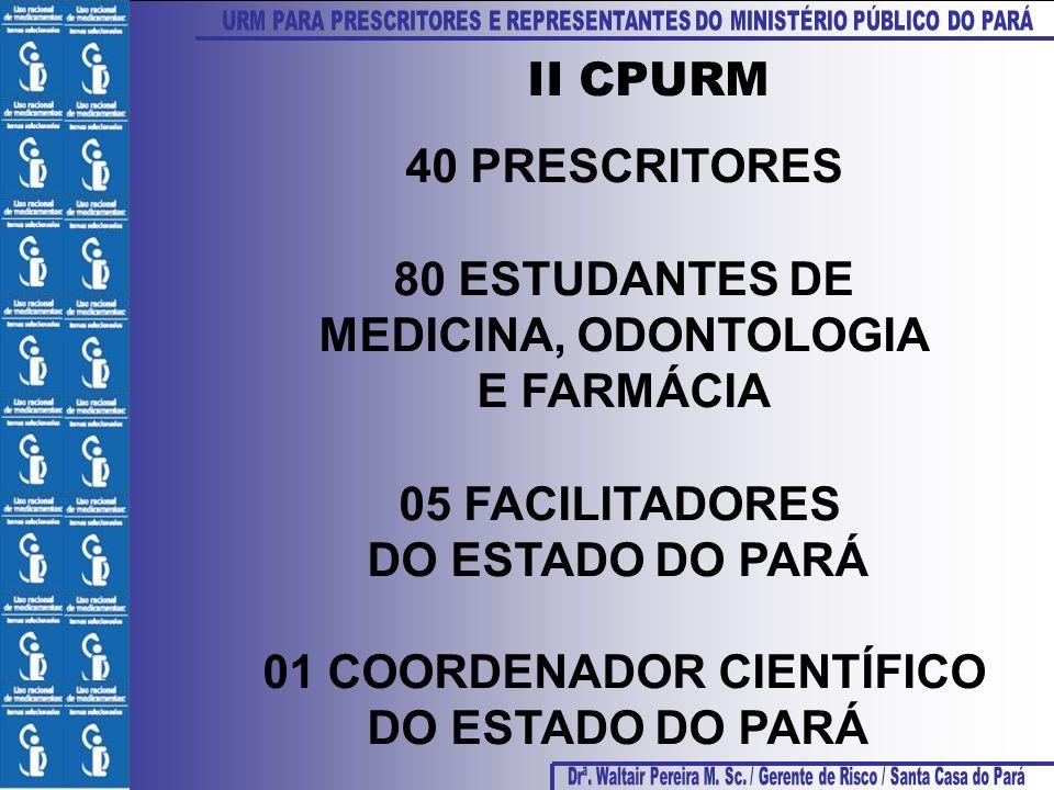 40 PRESCRITORES 80 ESTUDANTES DE MEDICINA, ODONTOLOGIA E FARMÁCIA 05 FACILITADORES DO ESTADO DO PARÁ 01 COORDENADOR CIENTÍFICO DO ESTADO DO PARÁ II CP