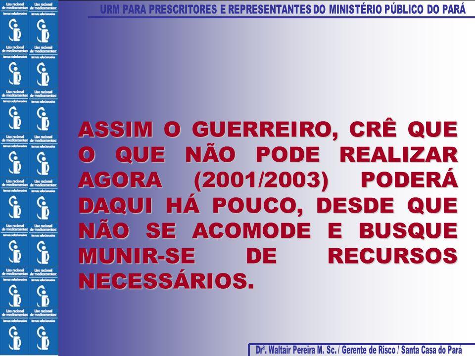 ASSIM O GUERREIRO, CRÊ QUE O QUE NÃO PODE REALIZAR AGORA (2001/2003) PODERÁ DAQUI HÁ POUCO, DESDE QUE NÃO SE ACOMODE E BUSQUE MUNIR-SE DE RECURSOS NEC