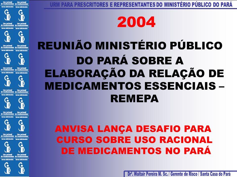 REUNIÃO MINISTÉRIO PÚBLICO DO PARÁ SOBRE A ELABORAÇÃO DA RELAÇÃO DE MEDICAMENTOS ESSENCIAIS – REMEPA 2004 ANVISA LANÇA DESAFIO PARA CURSO SOBRE USO RA