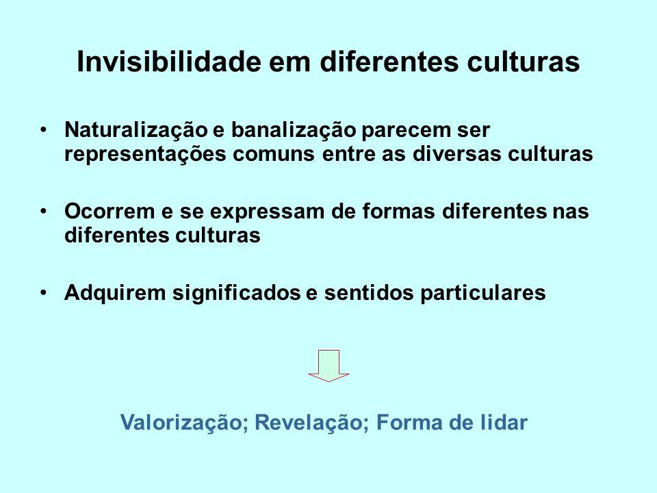 Invisibilidade em diferentes culturas Naturalização e banalização parecem ser representações comuns entre as diversas culturas Ocorrem e se expressam de formas diferentes nas diferentes culturas Adquirem significados e sentidos particulares Valorização; Revelação; Forma de lidar