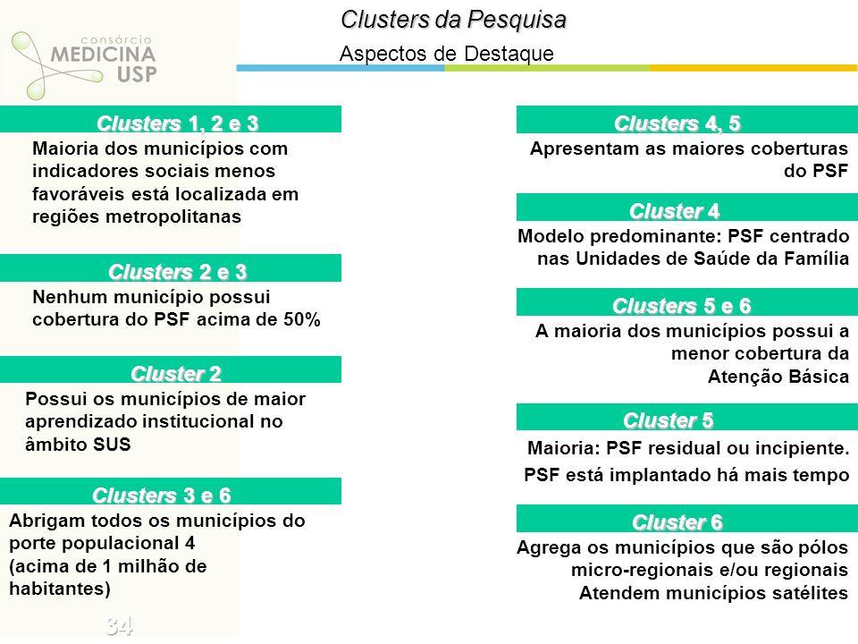Clusters da Pesquisa Aspectos de Destaque Clusters 1, 2 e 3 Maioria dos municípios com indicadores sociais menos favoráveis está localizada em regiões