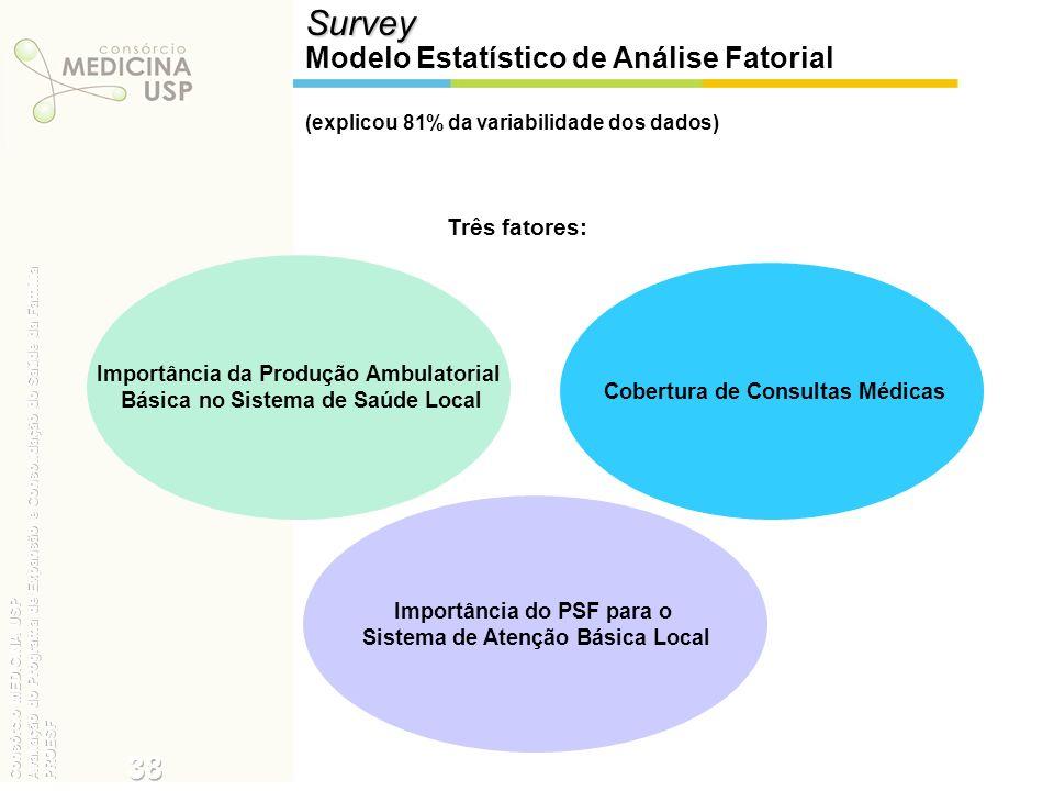 (explicou 81% da variabilidade dos dados)Survey Modelo Estatístico de Análise Fatorial Importância da Produção Ambulatorial Básica no Sistema de Saúde